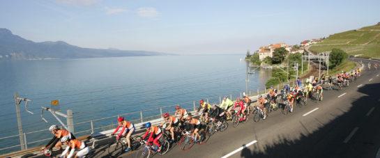 Lausanne, 04.06.06. cyclotour du lŽman, le peloton au passage de Rivaz. © Laurent de Senarclens