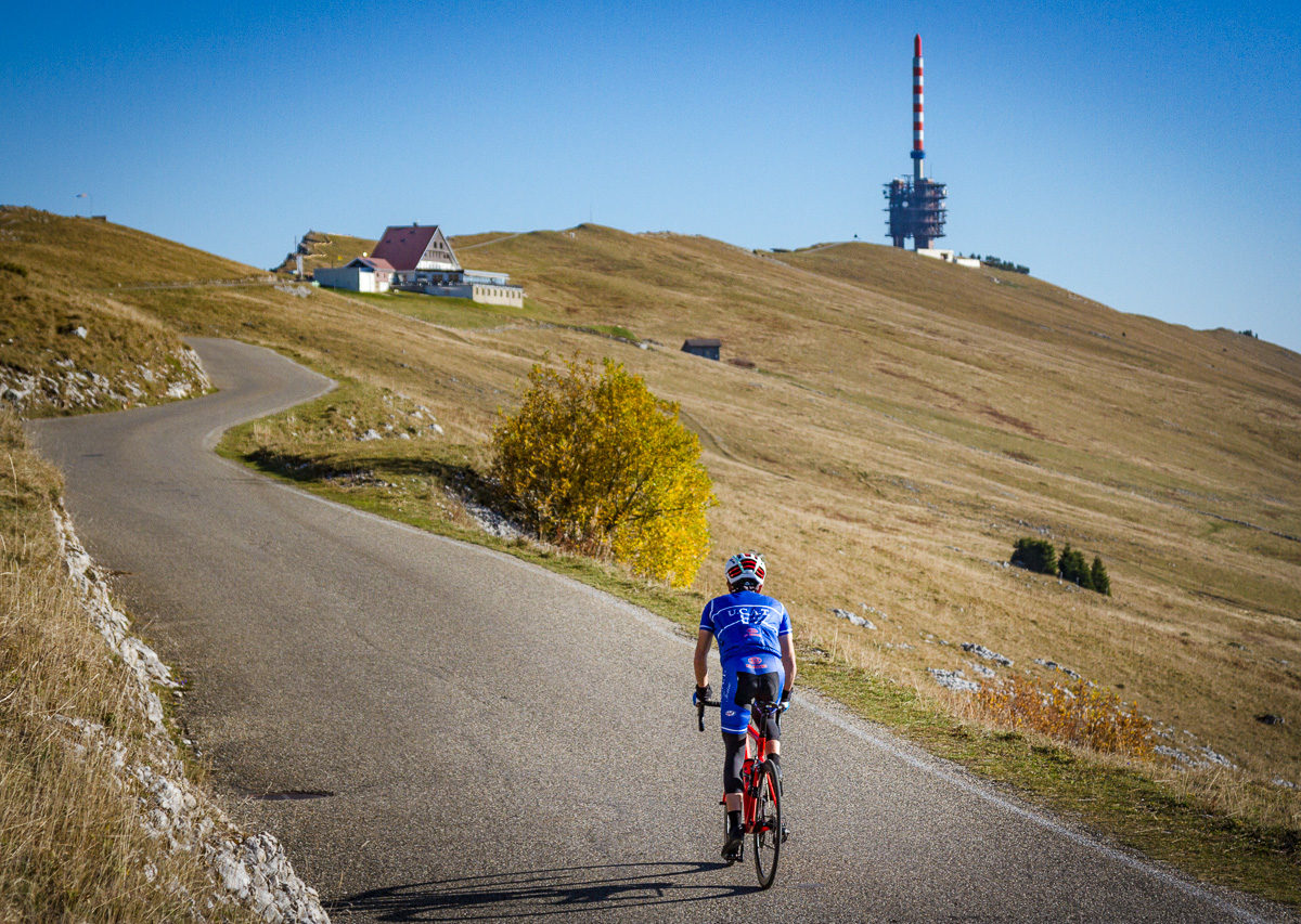 One man climbing Moint Chasseral in Kantion Bern, Switzerland