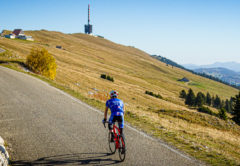 One man cycling up Mont Chasseral in Kanton Bern, Switzerland