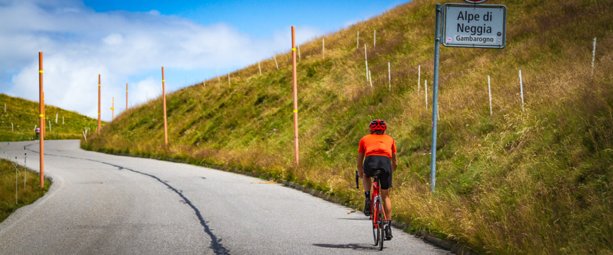 One male cyclist climbing to Alpe di Neggia in Ticino, Switzerland