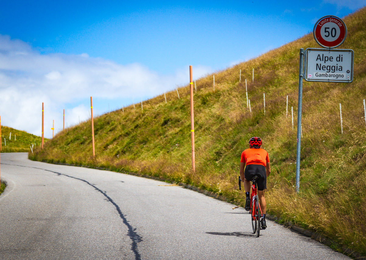 One male cyclist climbing to Alpe di Neggia in Ticino, Switzerland
