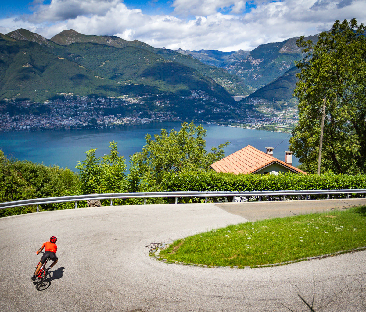 One male cyclist descending Alpe di Neggia in Ticino, Switzerland